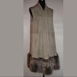 RALPH LAUREN $4595 Gray Suede Fur Vest Coat US 10